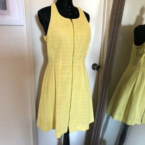 BCBG yellow zipper flare mini cocktail dress